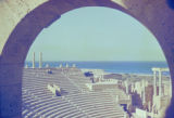 Libya, view of ancient Leptis Magna amphitheater and Mediterranean Sea