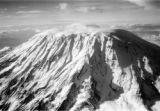 Tanzania, aerial view of Kibo summit of Kilimanjaro