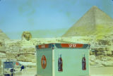 Egypt, Coca-Cola stand near Giza pyramids and Great Sphinx
