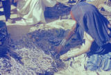 Libya, woman handling plant fibers in market