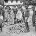 Ghana, villagers standing around pile of cassava roots