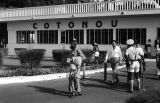 Benin, people leaving International Airport of Cotonou building