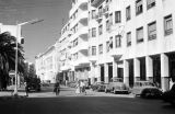 Morocco, street scene with modern buildings in Rabat