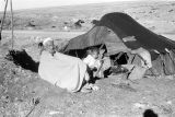 Morocco, man and boy sitting outside tent at Berber nomad camp