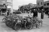 Morocco, parked bicycles on street at Jamaa el-Fna Square in Marrakech