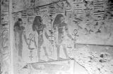 Egypt, hieroglyphic painting on wall of temple in ancient city of Thebes