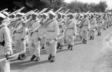 Morocco, ski troops marching in royal review of troops in Fez