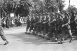 Morocco, Moroccan soldiers marching in royal review of troops in Fez
