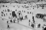 Morocco, bird's-eye view of people in Jamaa el-Fna square, Marrakech marketplace