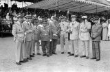 Morocco, group portrait of military officials at royal review of troops in Fez