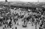 Morocco, bird's-eye view of Jamaa el-Fna square, Marrakech marketplace