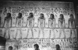 Egypt, painting with hieroglyphics in Temple of Luxor in ancient Thebes