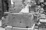 Egypt, ruins of sculpture at Great Temple of Amon at Karnak in ancient Thebes