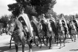 Morocco, mounted military personnel in royal review of troops in Fez