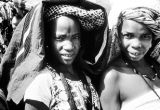 Nigeria, portrait of two women wearing headdresses