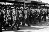 Morocco, soldiers marching past King Muhammad V in royal review of troops in Fez