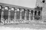 Egypt, ruins of sphinxes and columns at Temple of Amon at Karnak in ancient Thebes