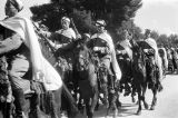 Morocco, mounted soldiers in royal review of troops in Fez