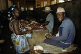 Gambia, merchants selling meat