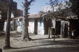Senegal, backyard of house on Gorée Island with airing laundry