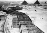 Pyramids of Giza (Egypt), aerial view of landscaping and an irrigation canal with pyramids in the...