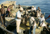 Senegal, fishermen on boats