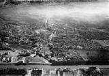 Cairo (Egypt), aerial view of the city looking east showing an aqueduct and canal