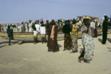 Senegal, people on beach with fishing boats