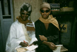 Senegal, portrait of two Muslim men with sunglasses