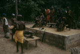 Côte d'Ivoire, village elders and tribal chief hearing villager complaints