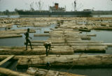 Côte d'Ivoire, laborers tying up lumber for export in Abidjan