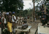 Côte d'Ivoire, tribal chief hearing complaints from villagers