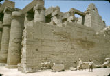 Egypt, ruins of stone wall in ancient city of Thebes