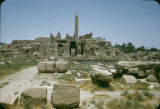 Egypt, obelisks and ruins at Temple of Luxor in ancient Thebes