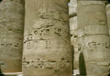 Egypt, hieroglyphics on columns at Karnak Temple in ancient Thebes