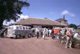Tanzania, tourists and vans at lodge in Ngorongoro Conservation Area