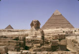 Egypt, Great Sphinx and Khafre and Menkaure pyramids in Giza