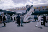 Ethiopia, passengers departing Ethiopian Airlines plane at Addis Ababa airport