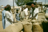 Nigeria, men selling peanuts at Kano market