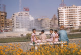 Cairo (Egypt), children sitting on the bench by the fountain