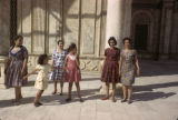 Egypt, women and girls in Cairo wearing Western-style dresses