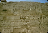 Egypt, hieroglyphics on wall at temple in ancient Thebes