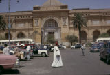 Egypt, people and cars in front of Egyptian Museum in Cairo