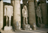 Egypt, colonnade and sculpture at Luxor temple