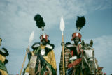 Nigeria, Hausa men on horseback in traditional dress in Sokoto