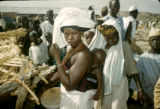 Nigeria, Fula woman carrying baby on back