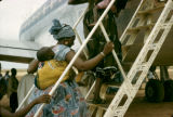 Nigeria, passengers boarding plane at Kano Airport