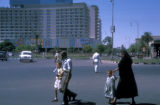 Cairo (Egypt), pedestrians outside the Hilton Hotel