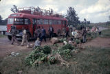 Uganda, passengers and bananas at Kilembe bus stop