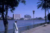 Cairo (Egypt), man along the Nile river waterfront